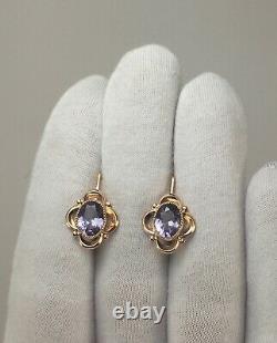 Vintage Original Soviet Russian Alexandrite Rose Gold Boucles D'oreilles 583 14k Urss