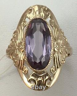 Vintage Original Soviet Russian Alexandrite Rose Gold Ring 583 14k Urss