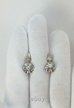 Vintage Original Soviétique Boucles D'oreilles En Or Russe Yakutia Diamond 583 14k Urss