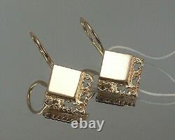 Vintage Original Soviétique Russe Rose Gold Boucles D'oreilles 583 14k Urss, Solid Gold 14k