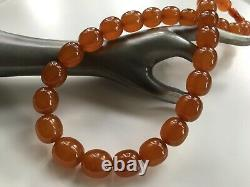 Vintage Outstanding Big Beads Russian Baltic Honey Amber Collier 92grams Urss
