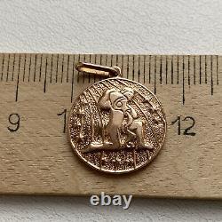 Vintage Pendentif Urss Rose Or 583 Timbre Star 14k Zodiaque Aquarius Juifs Russes