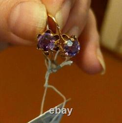Vintage Rare Earrings Russian Soviet Ussr Jewelry Gold 14k 583 Alexandrite