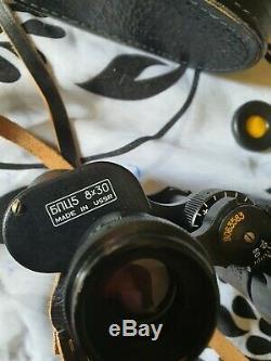 Vintage Russe Jumelles Bpc5 5 8x30 Fabriqué En Urss Avec Le Cas