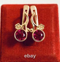 Vintage Russe Soviet Urss Bijoux Belles Boucles D'oreilles Rose Or 14k 585