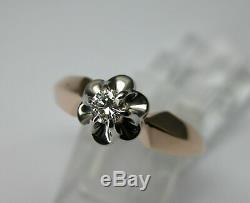 Vintage Russe Soviétique 583 14k Or Rose Bague De Fiançailles Diamant