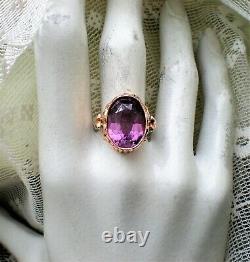 Vintage Russie Russe Soviétique 14k 583 Rose Rose Or Alexandrite Déclaration Ring