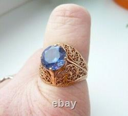 Vintage Soviet Russian 583,14k Solid Gold Ring Taille 10