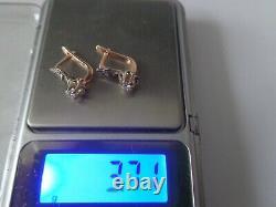 Vintage Soviet Solid Rose Gold Boucles D'oreilles 14k 583 Diamond 3.71 Gr Russie Urss