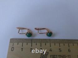 Vintage Soviet Solid Rose Gold Boucles D'oreilles 14k 583 Hrysoprase 2.70 Gr Urss Russe