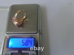 Vintage Soviet Solid Rose Gold Ring 14k 583 Ruby Us Taille 6,75 Urss Russe