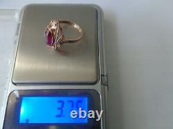 Vintage Soviet Solid Rose Gold Ring 14k 583 Star Ruby Us Taille 7,25 Urss Russe