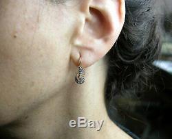 Vintage Soviétique Russe 583 14k Diamant Boucles D'oreilles En Or Rose