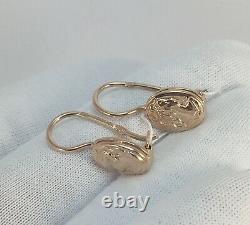 Vintage Soviétique Russe Rose Gold Boucles D'oreilles Cameo 583 14k Urss, Solid Gold 583