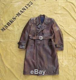 Vintage Trench Cuir Uniforme Militaire Russe Manteau Nkvd Officier Ww2 Urss