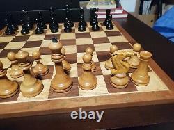 Vintage Wood Soviet Jeu D'échecs Russe 3 7/8 Staunton Vers 1960's 1970's