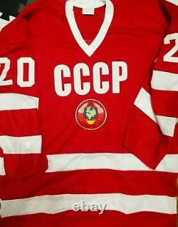 Vladislav Tretiak #20'urss Cccp Russian Hockey Replica Jersey Brodé