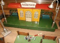 Vtg 1959 Rare Cccp Russe Moskabel Train Ussr Chemin De Fer Chemin De Fer Moteur Set Jouet