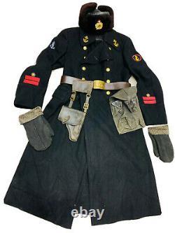 Ww 2. Ensemble D'uniforme Soviétique Russe. Capitaine Marin. Manteau, Chapeau, Sac, Ceinture, T-shirt