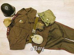 Ww -2 Ensemble Soviétique Russe Uniforme Tunique + Culottes + Chapeau + Ceinture + Casque En Acier De Style 1943