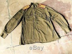 Ww-2 Original Tunique Russe Soviétique Bretelles Soldat Red Army 1943